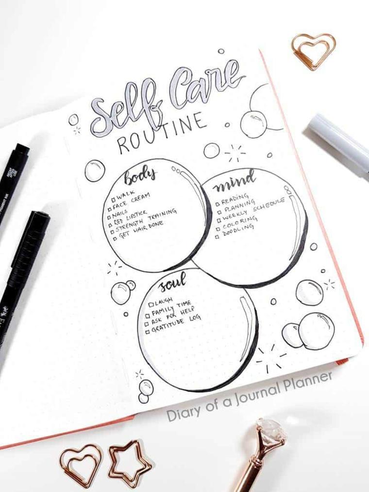 come organizzare un bullet journal disegno bolle penne scritte cerchi pagina bianca
