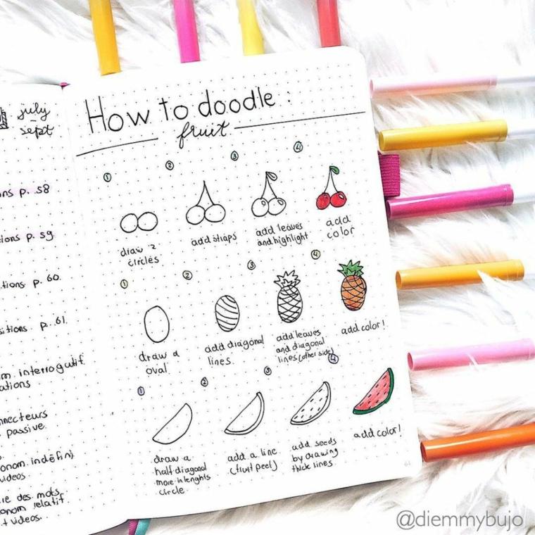disegni per bullet journal come disegnare tutorial pennarelli colorati