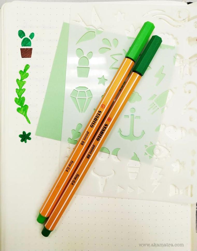 disegni per bullet journal penne colorate stencil piante cactus agenda decorazioni