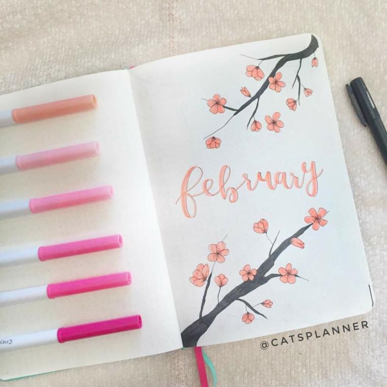 disegni per bullet journal quaderno disegno ramo fiorito fiori pennarelli colorati
