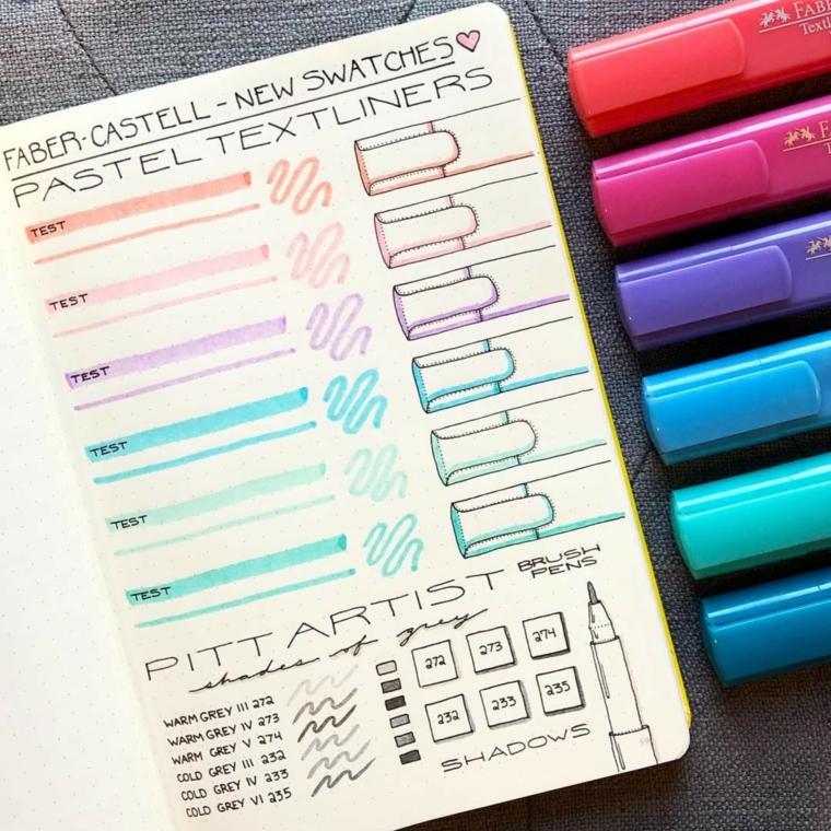 evidenziatori colorati agenda notebook scritte disegni appunti bullet journal