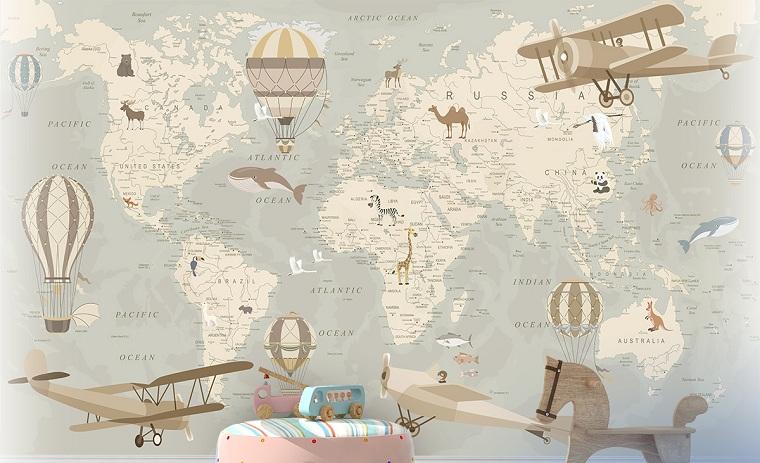 fotomurali mappa del mondo cameretta bambini disegno di aeroplano