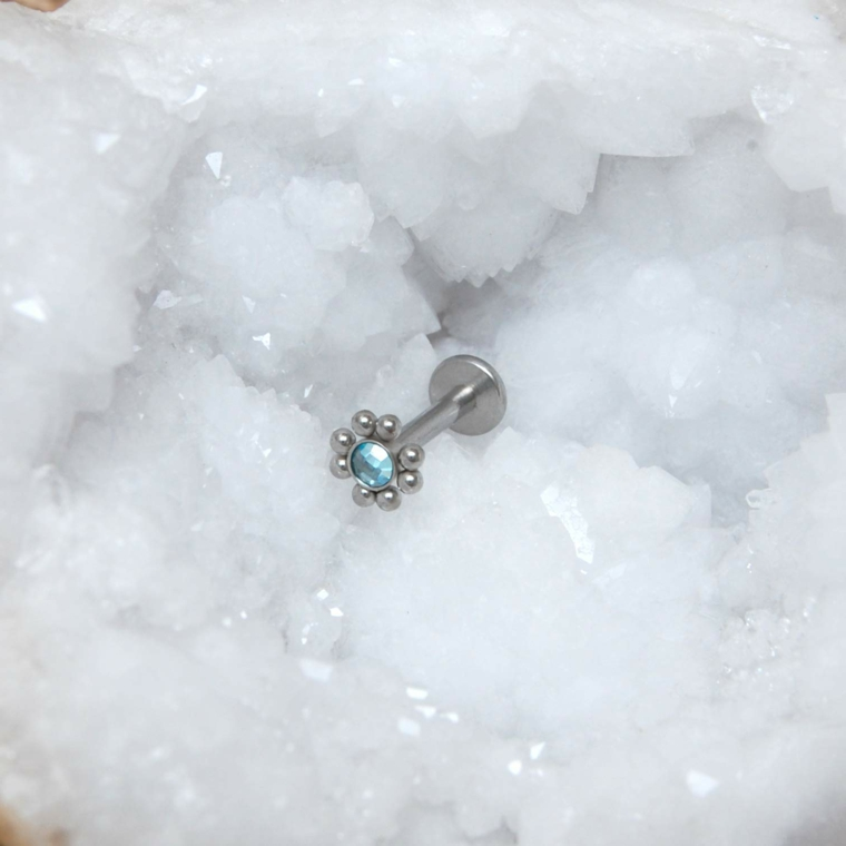 gioiello argento brillantino palline medusa style piercing viso uomo donna