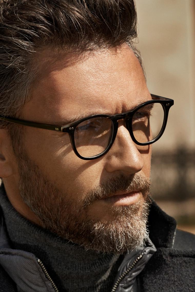 moda occhiali da vista 2020 uomo montatura goccia materiale plastica colore nero barba