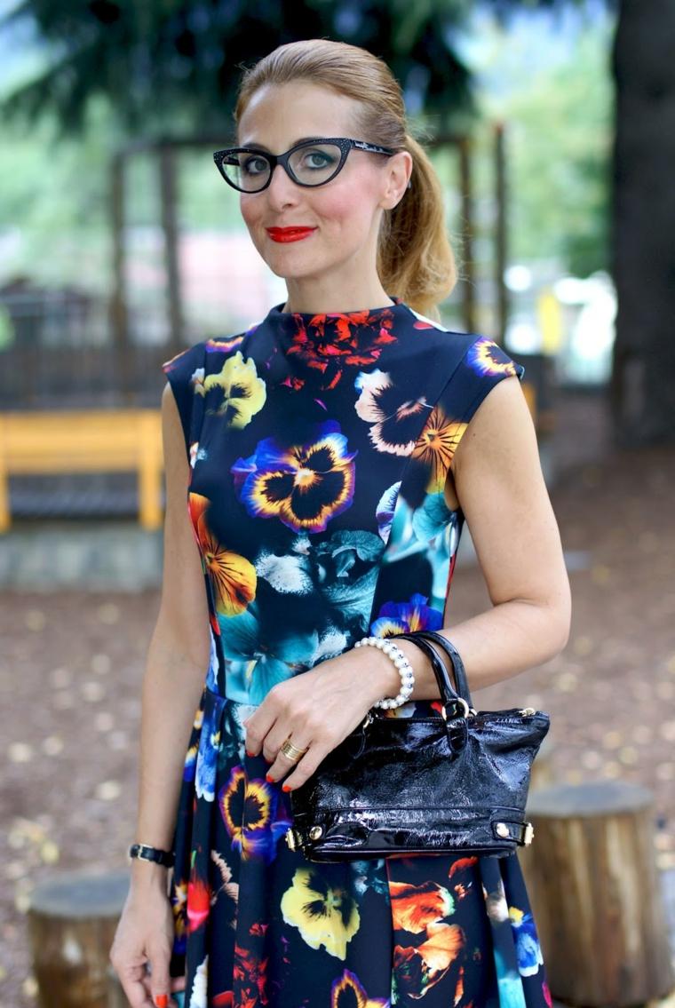 montature occhiali da vista donne 2020 colore nero modello cat eye abito floreale