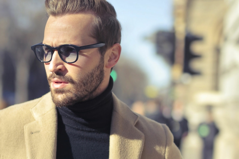 montature occhiali da vista uomo 2020 lenti blu biso barba giacca maglia polo