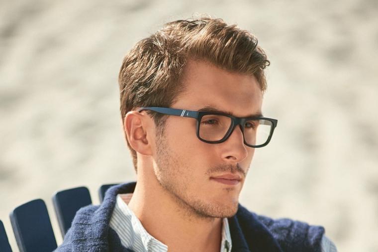 occhiali da vista uomo 2020 tendenze forma quadrata colore blu montatura acetato