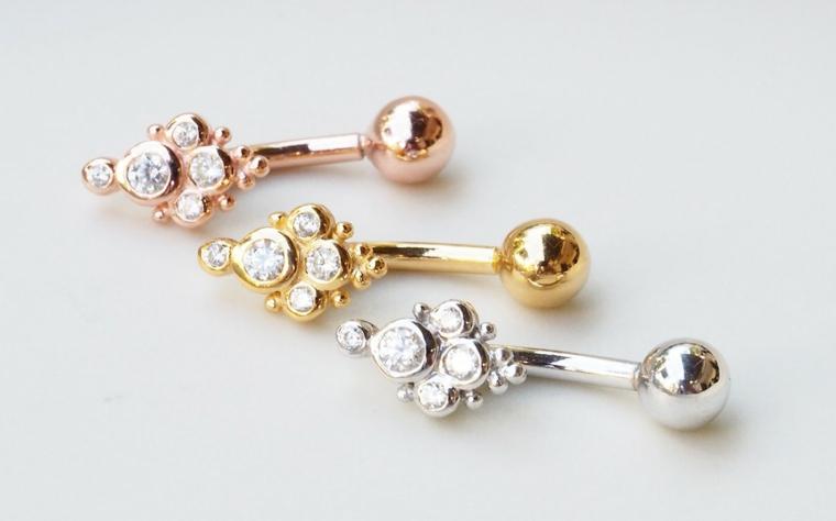 piercing labbro medusa gioielli brillantini viso donna oro argento platino