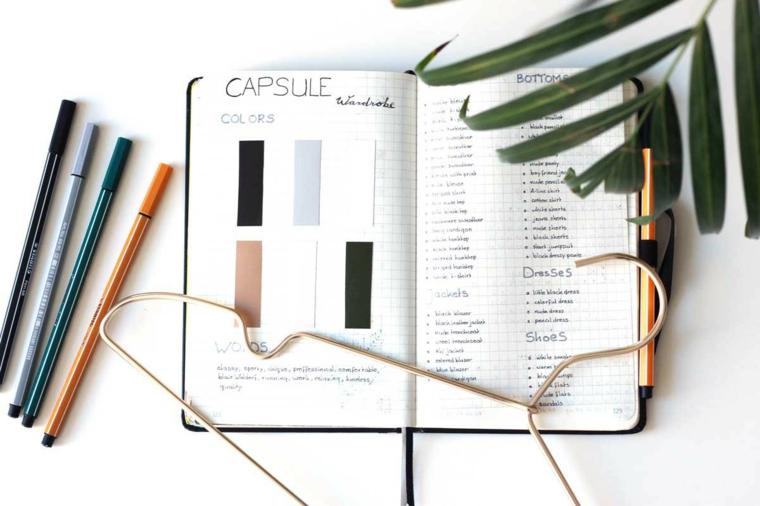 quaderno a puntini nastro washi tape scritte pennarelli colorati penne foglie