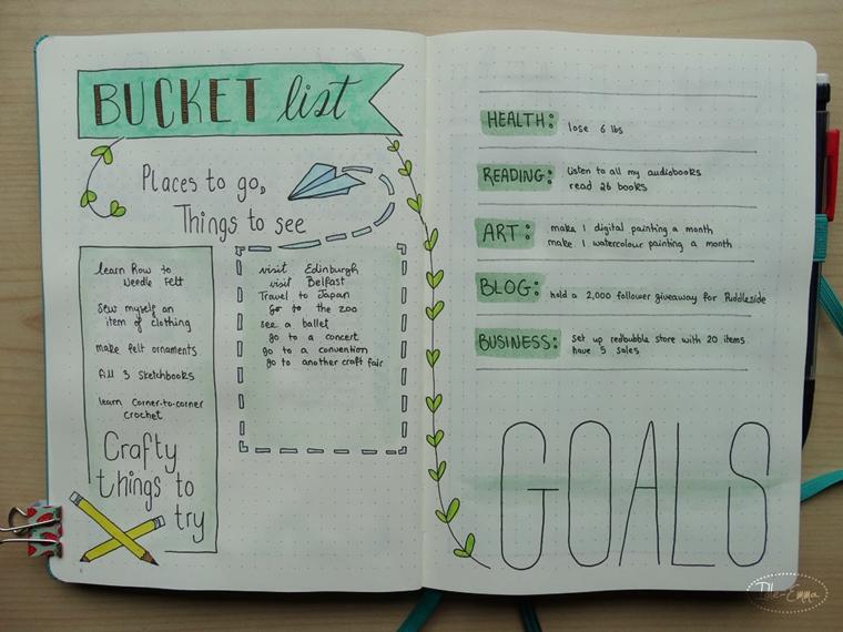 scritte come creare un bullet journal goals disegni matite ramo foglie