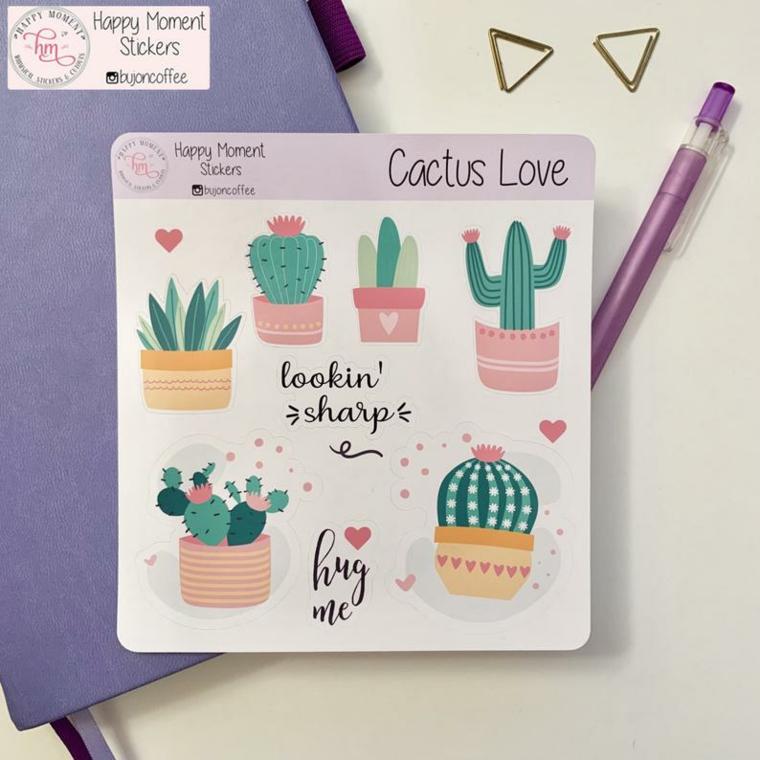 stickers come decorare il bullet journal penna adesivi colorati piante cactus tropicali agenda
