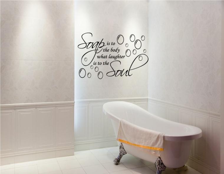 stickers murali sala da bagno con vasca scritta adesivo per la parete