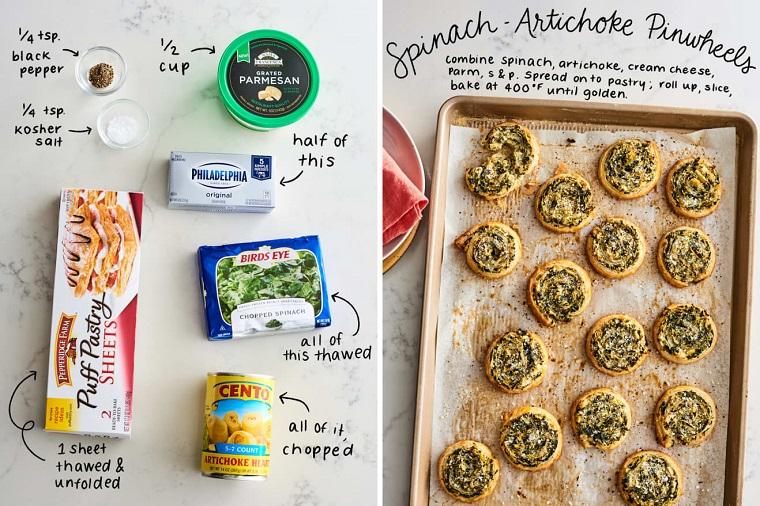 stuzzichini per aperitivo pasta sfoglia teglia con girelle alla philadefia e spinaci