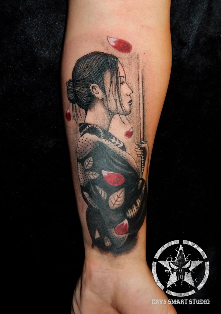 tattoo con disegnogeisha di profilo tatuaggi piccoli maschili sul polso di un uomo