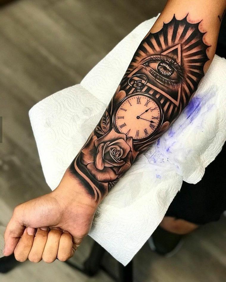 tattoo occhio di ra sull avambraccio maschile tatuaggio tutto il braccio disegno orologio