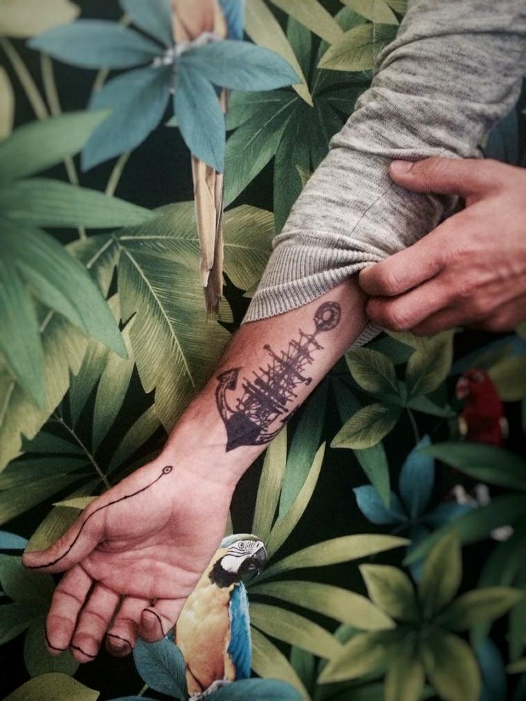 tatuaggi sulla mano uomo tattoo disegno ancora nave sul polso di un uomo