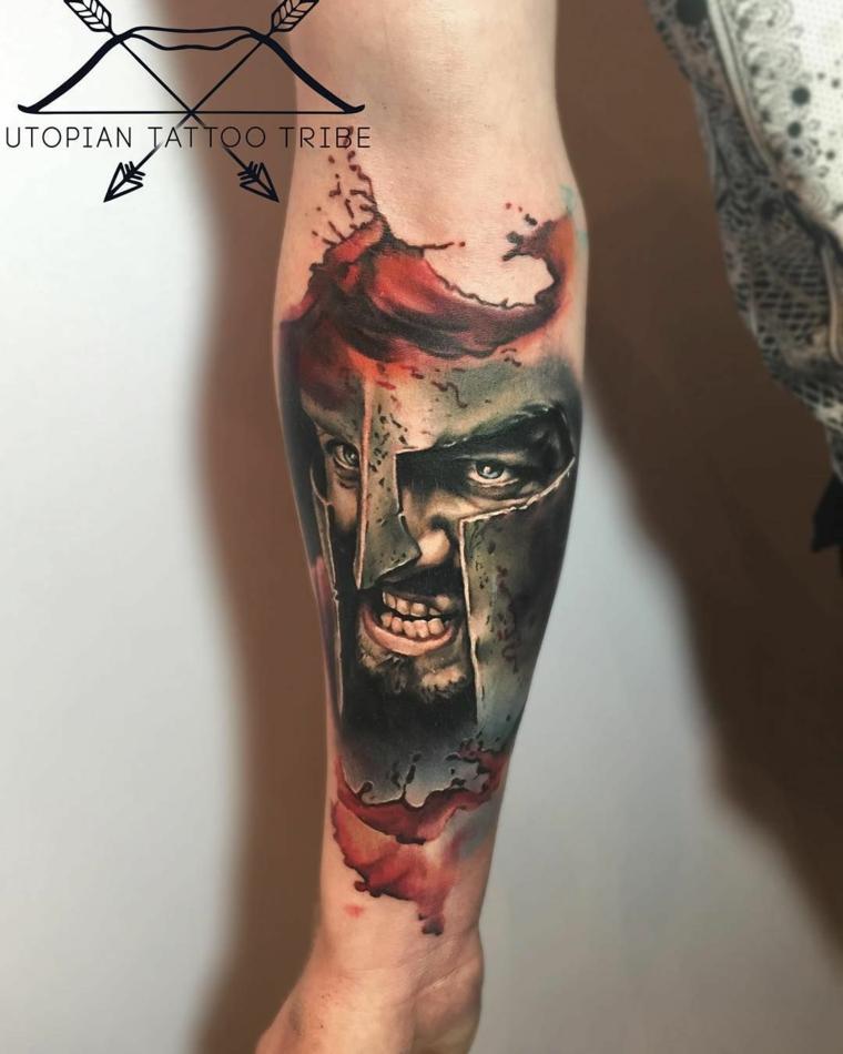 tatuaggio uomo avambraccio disegno guerriero con sangue rosso