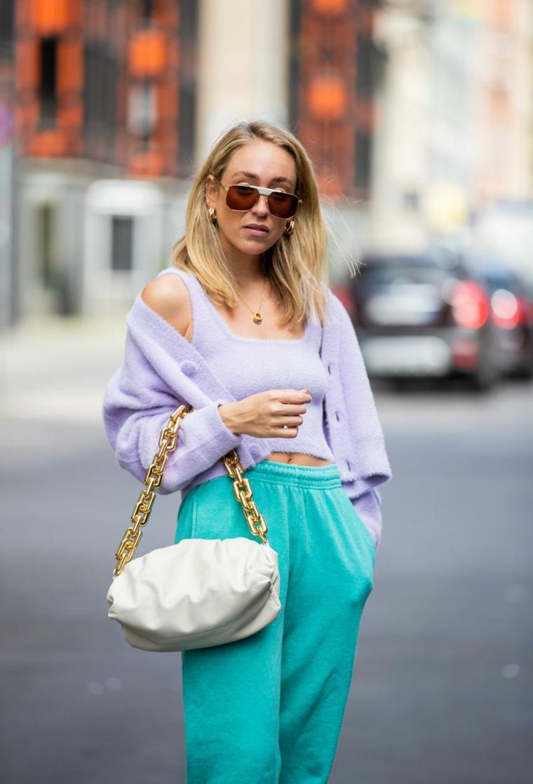 tendenze colore capelli 2020 biondi taglio long bob borsa occhiali da sole