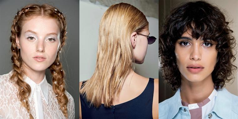 tendenze colore capelli autunno inverno 2020 tre donne acconciature trecce ricci biondo castano