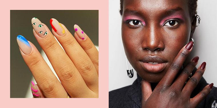 unghie a mandorla con smalto mat colorati donna con ombretto rosa manicure colore marrone