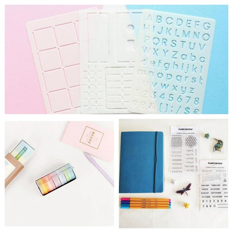 washi tape come trasformare un quaderno in agenda bullet matite penne stencil lettere