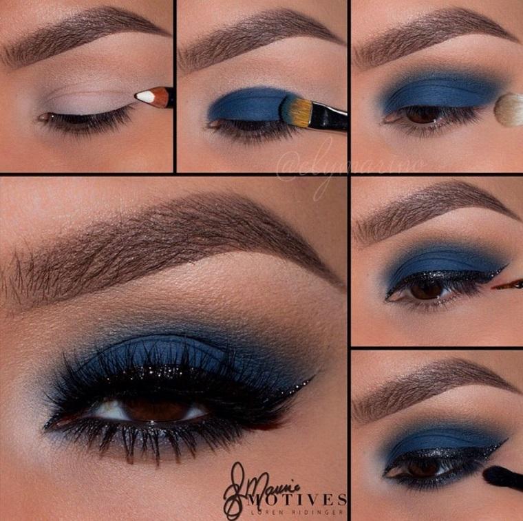 come truccare gli occhi marroni ombretto di colore blu eyeliner nero e mascara
