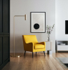 giallo limone poltrona soggiorno in moderna lampada da lettura stile minimal metallo dorato