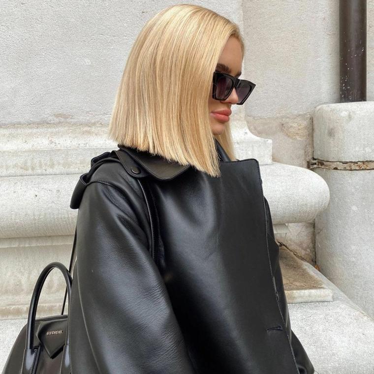 tagli di capelli autunno inverno 2020 acconciatura taglio caschetto di colore biondo