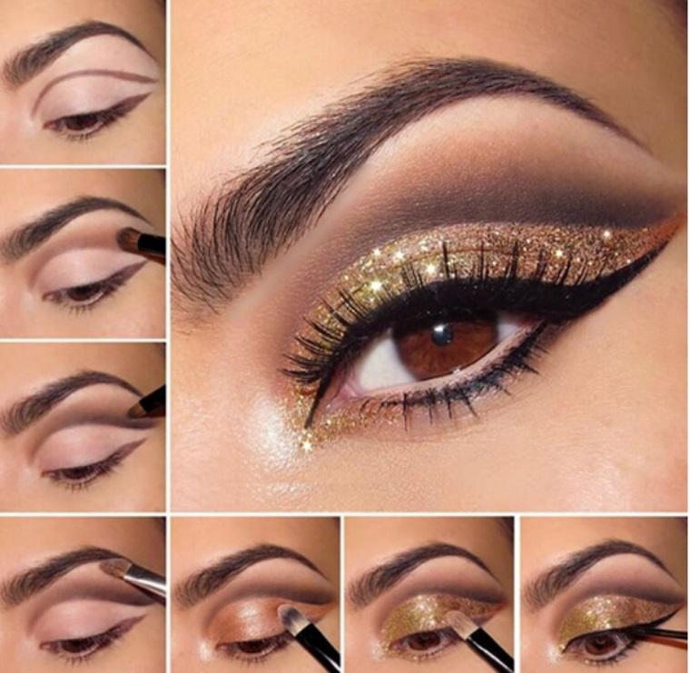 trucco occhi castani passo per passo tutorial ombretto oro con brillantini