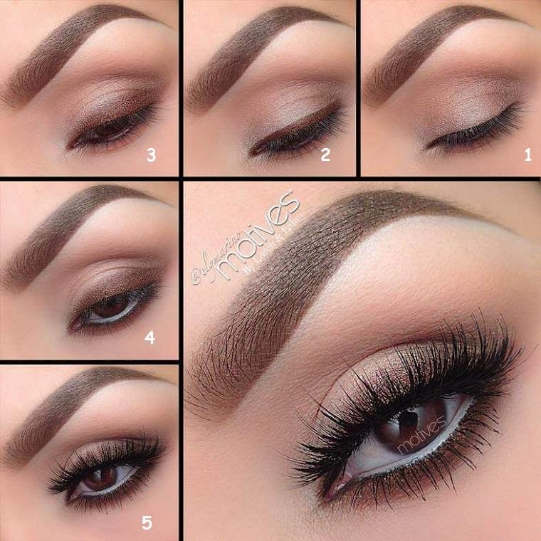 tutorial trucco occhi marroni da giorno ombretto marroncino e mascara nera