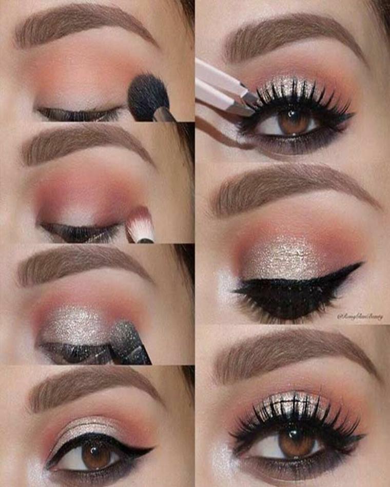 tutorial trucco semplice ombretto di colore argento glitterato sfumare make up con pennello