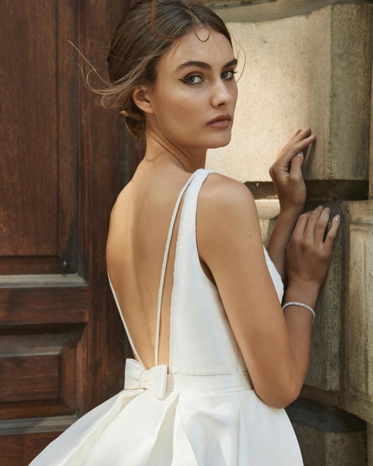elbeth gillis modelli 2021 abiti da sposa vestito bianco con fiocco in schiena