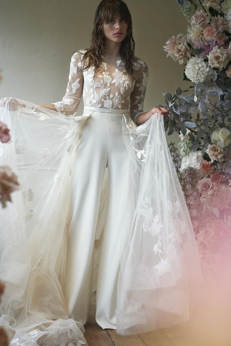 hermione de paula primavera estate 2021 anteprima abiti da cerimonia sposa con tailleur velo bianco