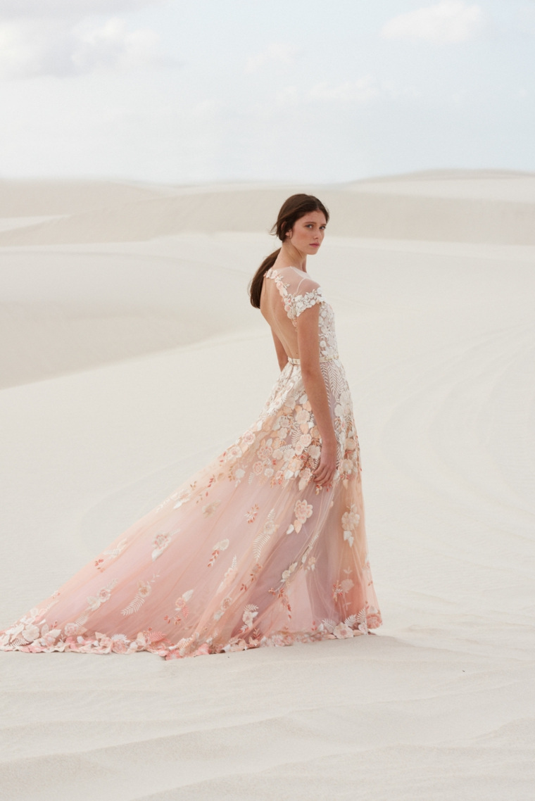 hermione de paulal collezione abiti da sposa 2021 vestito da cerimonia in tulle rosa
