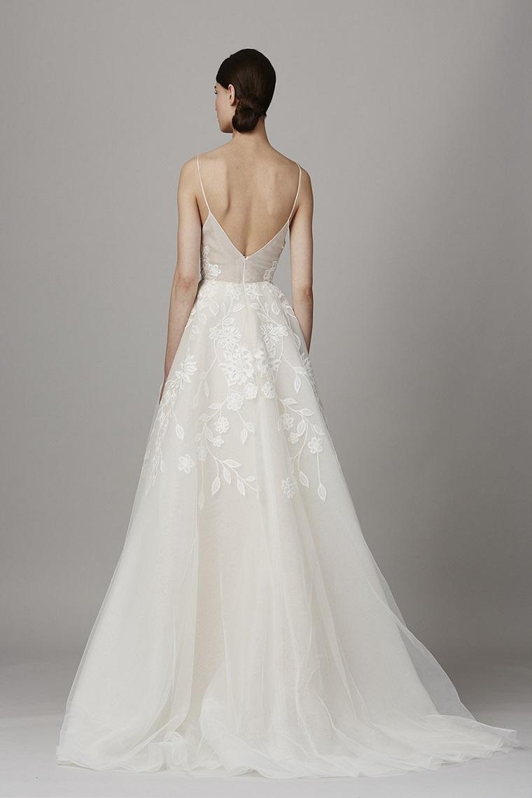 lela rose bridal primavera estate abito da sposa schiena scoperta gonna con tulle colore crema