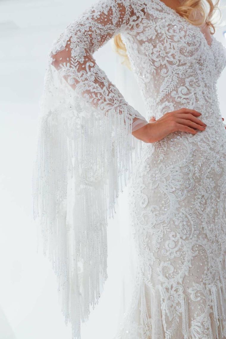 madeline gardner modello abito da sposa autunno vestito bianco in pizzo manica lunga