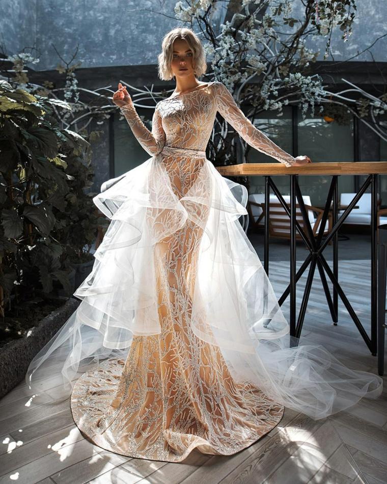 abiti da sposa 2021 anteprima vestito da cerimonia manica lunga con tulle e cintura