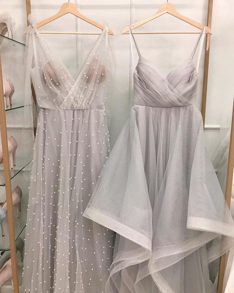 abiti da sposa semplici vestito da cerimonia colore rosa pallido con applicazioni