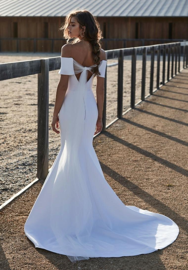 abito da cerimonia estivo vestito da sposa stile sirena con fiocco sulla schiena