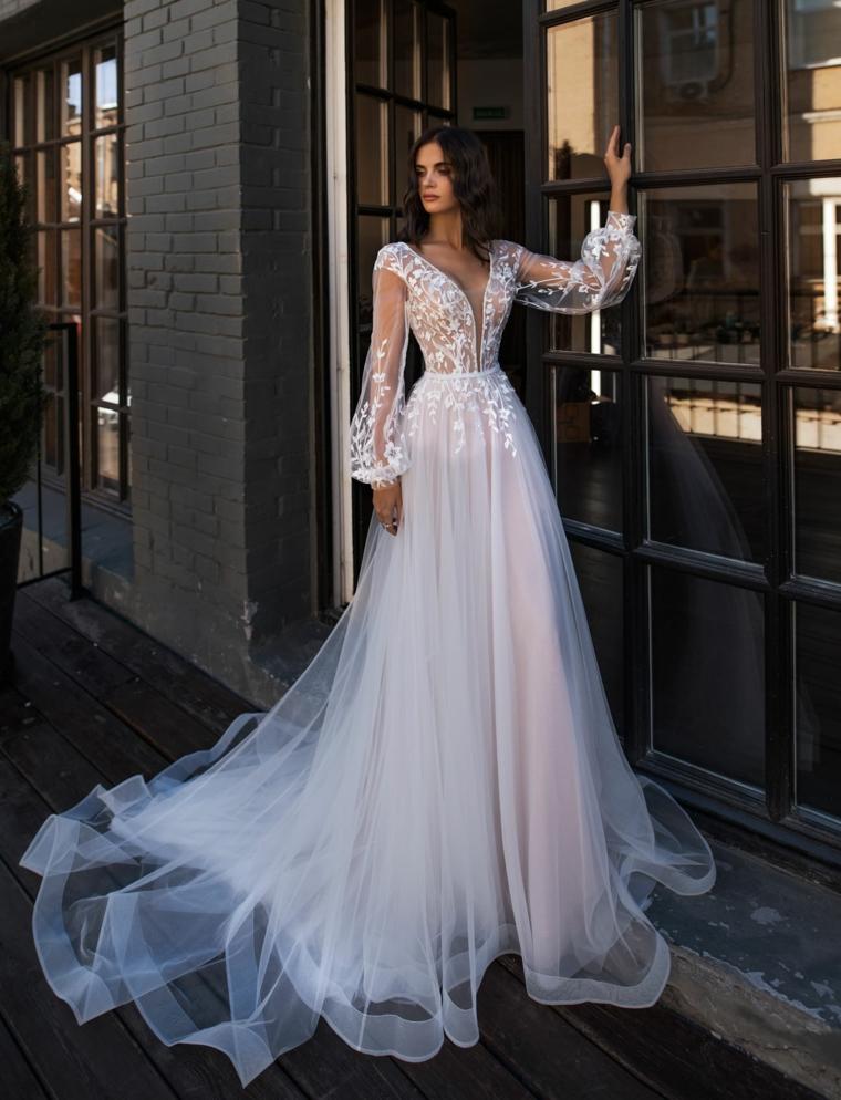 abito da sposa boho chic 2021 donna con capo da cerimonia bianco in tulle