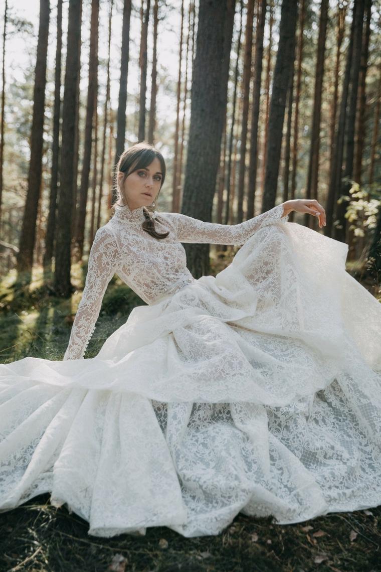 abito da sposa inverno in pizzo vestito da cerimonia manica lunga
