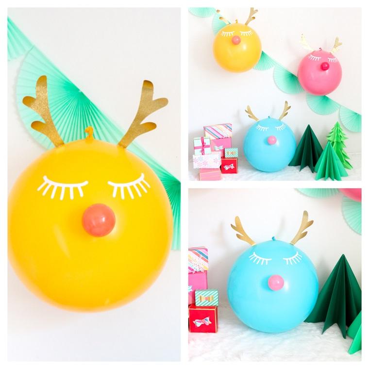 addobbi natalizi fai da te 2020 renne con palloncini gonfiati decorati