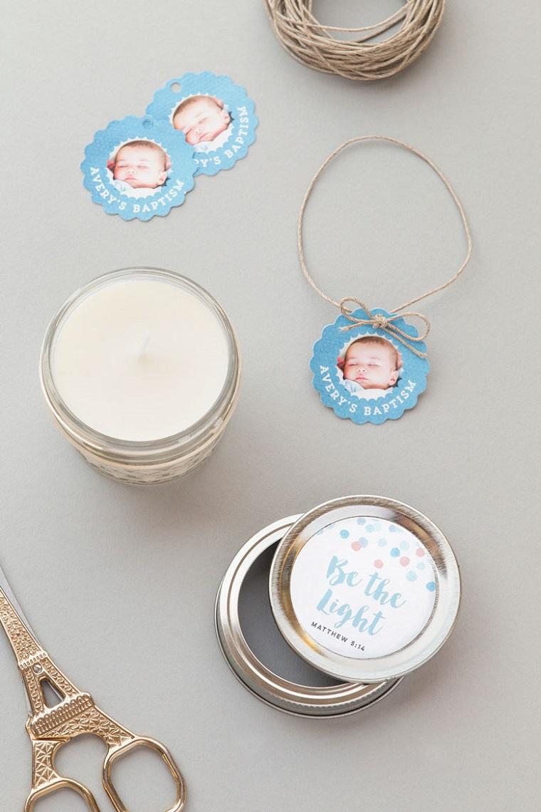 barattolo di vetro con coperchio personalizzato candela profumata idee bomboniere battesimo con foto
