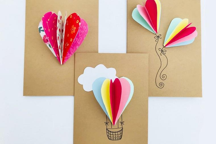 biglietti di compleanno fai da te pop up cartolina con mongolfiera di cartoncini colorati