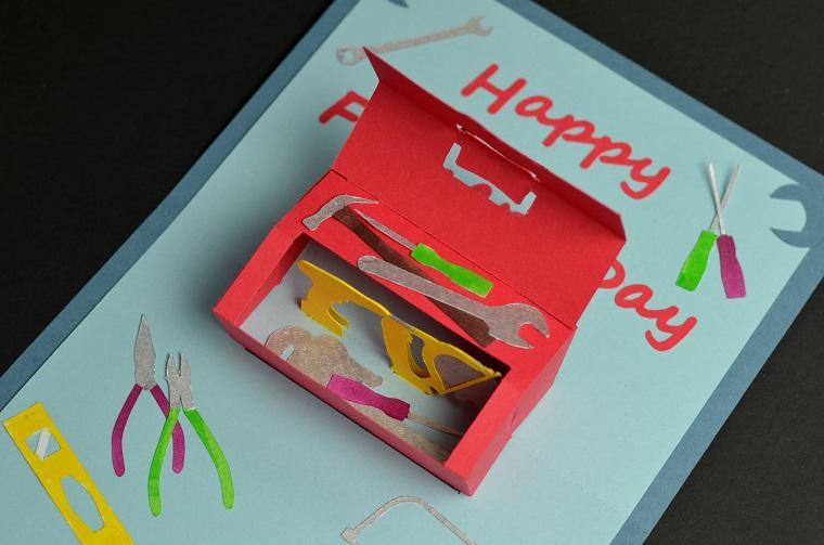 biglietti di compleanno fatti a mano semplici cartolina con cassetta degli attrezzi tridimensionale