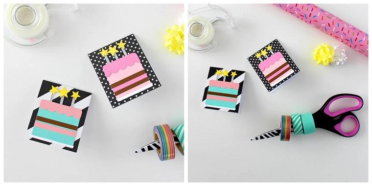 biglietti di compleanno fatti a mano semplici cartolina con decorazioni washi tape