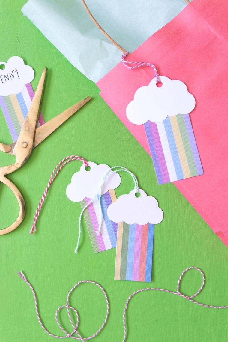 biglietti di compleanno per femmine cartellino di carta arcobaleno e spago