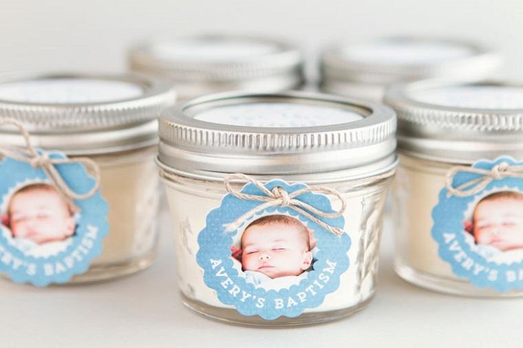 bomboniere battesimo fai da te candela con foto barattolo di vetro coperchio di metallo