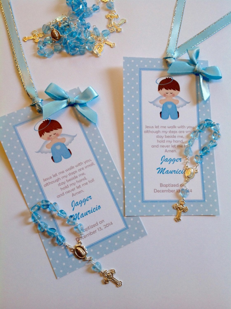 bomboniere originali battesimo maschietto cartolina con etichetta personalizzata braccialetto azzurro con croce