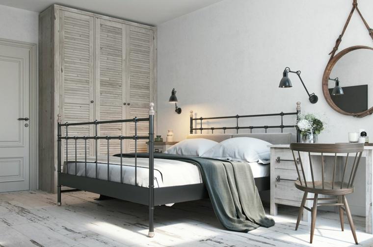 camera da letto stile nordico armadio in legno pavimento parquet di colore grigio